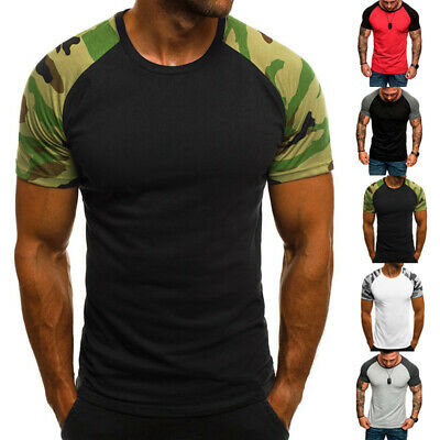 ac8c133a8 Men Shirt Camo T-shirt Tee Tops Training Casual Muscle Bodybuilding New  Fashion