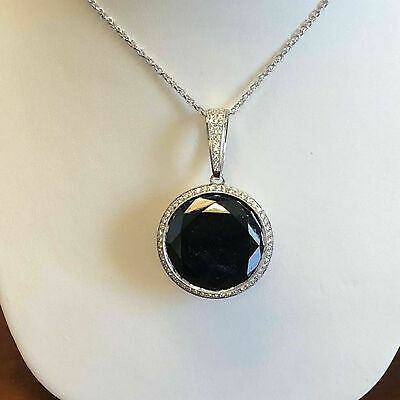 2Ct Round Cut Black Diamond Halo Vintage Pendant Necklace 14k White Gold Over