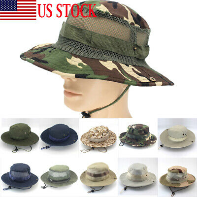 560ce983c97 Boonie Bucket Hats Outdoor Fishing Hunting Wide Brim Mesh Camo Camping Sun  Cap