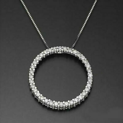 Circle Of Love Necklace 1.00 Ct Round Cut Diamonds Pendant 14K White Gold Finish