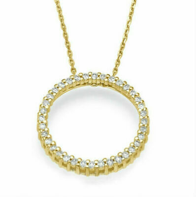 Diamonds Pendant Circle Of Love Necklace 1.00Ct Round Cut 14K Yellow Gold Finish