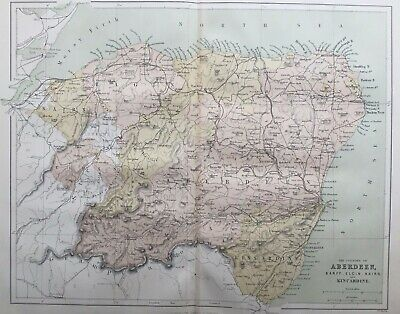 1868 Antique Map; Counties of Aberdeen, Scotland - William Hughes