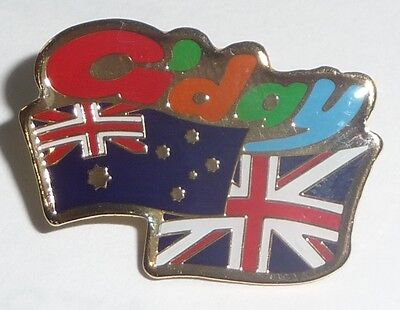G'day AUSTRALIAN UNION JACK FLAG PIN Hat Lapel aussie UK suit/shirt badge friend
