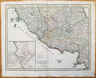 Koehler Large Decorative Handcolored Map Rome Central Italy - 1720#