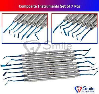 Dental Composite Filling Instruments Set Of 6 Blue Titanium Coated Restorative