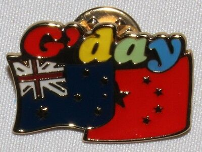 G'day AUSTRALIAN CHINESE FLAG PIN Hat Lapel aussie China shirt badge friend