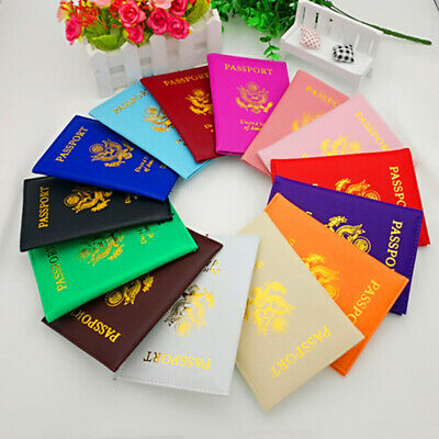 Leather Passport Case Holder RFID Blocking Travel ID Credit Card Wallet Trendy