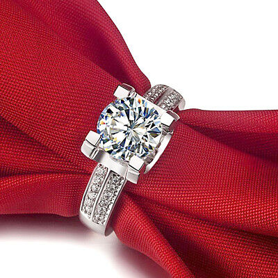 2.25 Ct Round Cut Diamond Solitaire Engagement Ring 14k White Gold Over