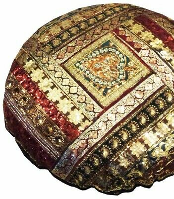 "40"" Black Large Stunning Moti Sari Beaded Accent Floor Bed Cushion Pillow Cover"