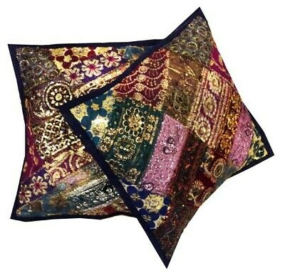 "16""-2 Navy Gorgeous Bead Kundan Sequin Sari Floor Throw Cushion Pillow Covers"