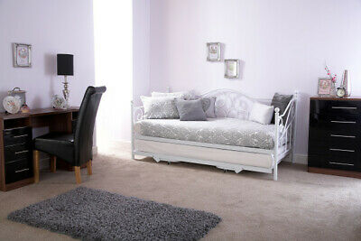 Stunning French-Inspired White Metal Daybed with Trundle Options