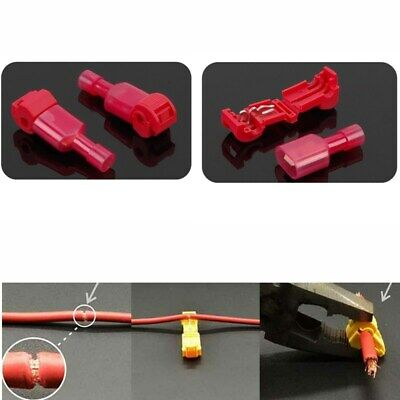 50X Quick Splice Lock Wire Connectors Terminals Electrical Crimp Cable Snap Red