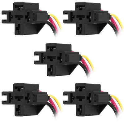 uxcell 2 Pcs Car Truck DC 12V/24V 40A Relay Socket 5 Pin 5 Wire Crossing Socket Audio & Video Accessories