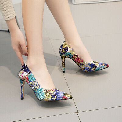 Fashion Women's Floral Stiletto High Heels Pointed Toe Pumps Sandals Shoes 4.5-9