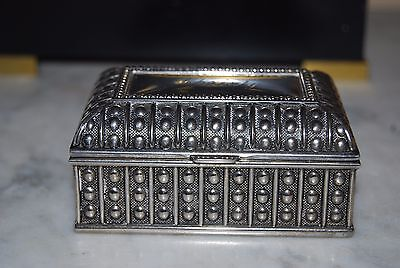 Small Vintage Silver Plate Trinket Or Jewelry Table Cabinet Box Engraved Christy