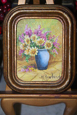 Wonderful Small Original Oil Painting Of Flowers By M. Howland On Gilded Frame