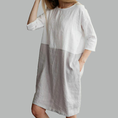 Baggy Womens Pure Casual Short Sleeve Cotton Linen Ladies Tunic Tops Dress