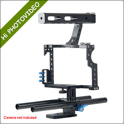 DSLR Camera Cage Top Handle 15mm Rods Kit For Sony A7S A7 A7R A7RII A7SII GH4