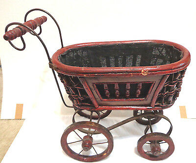 antique victorian doll buggy,14.5'' tall x 16'' long,moveable