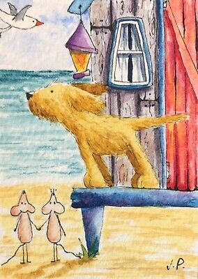 Original Watercolour ACEO Painting by JULIA Seaside, Beach Hut, Dog, Mouse
