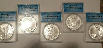 Lot of 5 MS70 Silver Eagle, 2010, ANACS Certified, 25th Anniversary Ltd