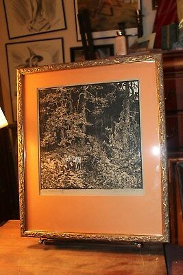 Framed Matted Woodcut Print by Leo Suitbert Lobisser Signed Ed. 9/53 Circa 1930