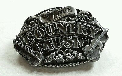 I Love Country Music Vintage Heavy Belt Buckle Siskiyou 1988 Made In Usa