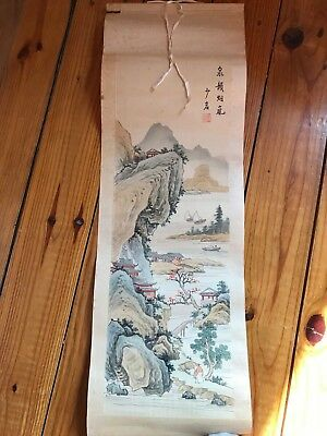 Japanese Scroll Ink Watercolor Painting On Silk Cloth Japan Village Scene Signed