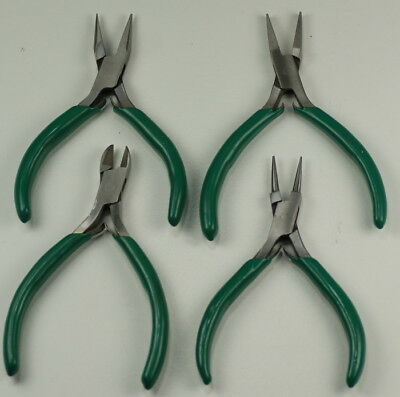 Pliers set x4 flat round sidecutters & half-round watchmakers/jewellers crafts