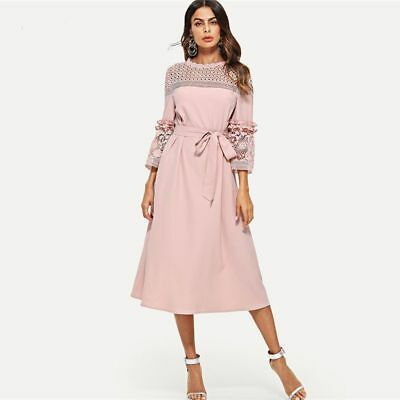 f29c767f5f5b8 SHEIN LACE YOKE and Sleeve Pearl Beading Belted Dress Pink 3/4 ...