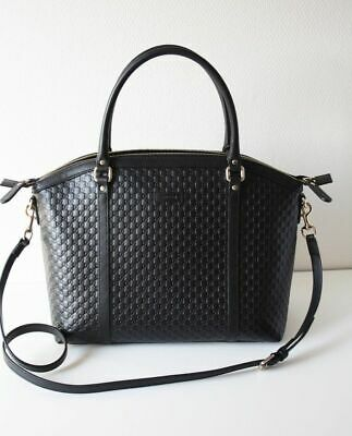 3bccf0268023 Gucci 449657 Women's Bag Leather Bag Micro Gg Guccissima Leather Black