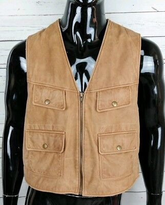 VTG Overland Outfitters Men's Distressed Brown Leather Vest Western Steampunk