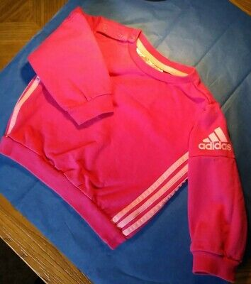 Adidas Baby Girls 3 Stripe Long Sleeve Pink Sweat Top ~ Age 6-9 Months