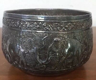 """Antique Thai Siam 950 Sterling Silver Repousse Bowl w Elephant Tree 150g 5"""""""