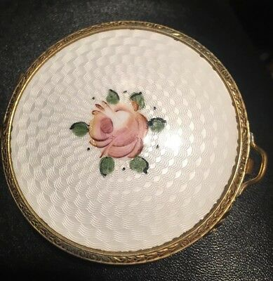 Guilloche Emaille Puderdose Mit Rosenmuster