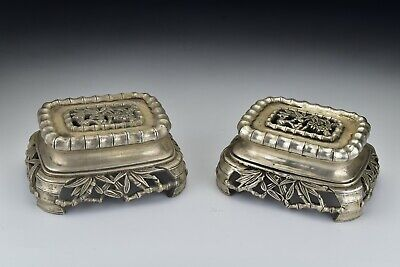 Pair of 19th Century Chinese Silvered Bronze Stands w/ Bamboo Motif