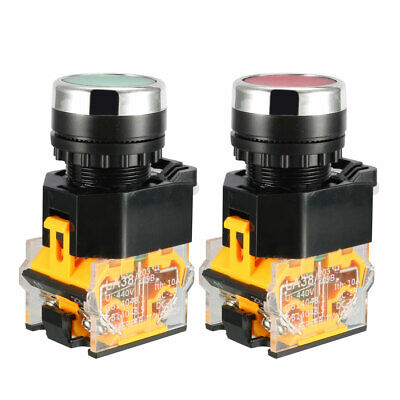 2pcs 22mm Panel Cutout Dia 10A 440V DPST Red Green Momentary Push Button Switch