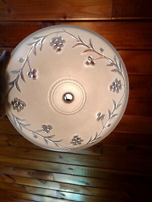 Vintage ART DECO Frosted Floral Grape Berry GLASS CEILING LAMP SHADE Chandelier