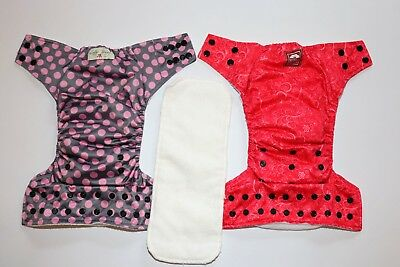Lot of 2-Lotus Bumz Royal Fluff adjustable cloth diaper pink polkadot/red floral