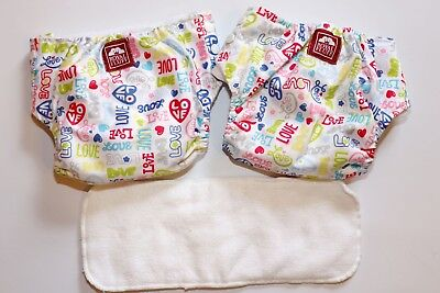 Lot of 2-Royal Fluff adjustable cloth diapers for girl Love Hearts Valentines