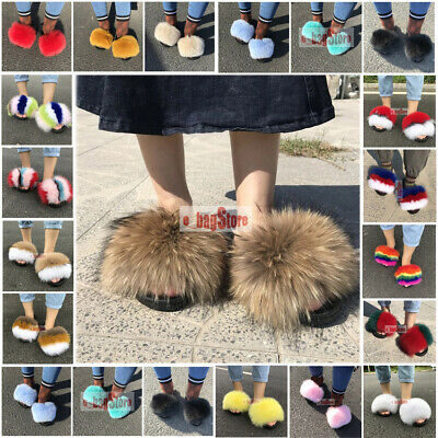 6ee2e0345 Fashion Women Fluffy Real Fox/Raccoon Fur Slides Slipper Outdoor Shoes  Sandals
