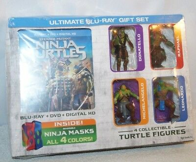 New Teenage Mutant Ninja Turtles Blu-ray DVD Digital Ultimate Gift Set 4 Figures