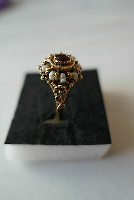 Beautiful very rare antique 18k gold ring with pearls and red glass stone