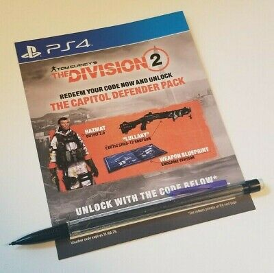 The Division 2 Capitol Defender Pack DLC (PlayStation 4 PS4) *EU/UK ONLY* READ