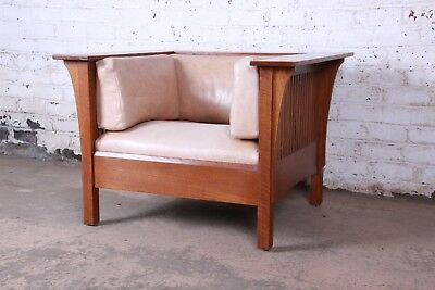 Stickley Mission Prairie Armchair With Tan Leather Upholstery
