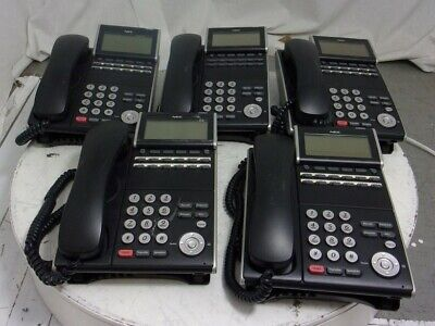 LOT OF 5* NEC DLV(XD)Z-Y(BK) DTL-12D-1(BK)TEL DT300 Digital Phone SEE NOTES