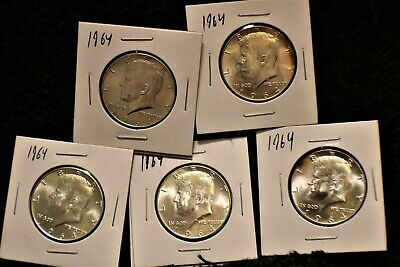 5 Brilliant Uncirculated 1964 Kennedy Halves! 90% silver!