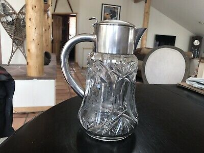 German Crystal & Silver Plate Pitcher With Cooler Insert