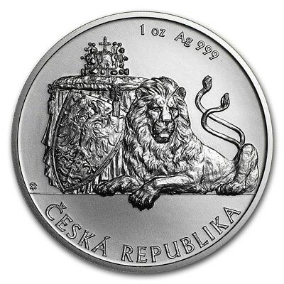 2018 Niue Czech Lion BU 1 oz Silver Coin in Capsule