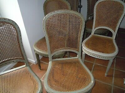 6 Chaises Cannees Grises Style Gustavien